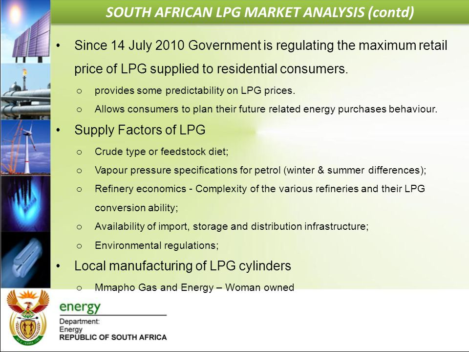 SOUTH AFRICAN LPG MARKET ANALYSIS (contd)
