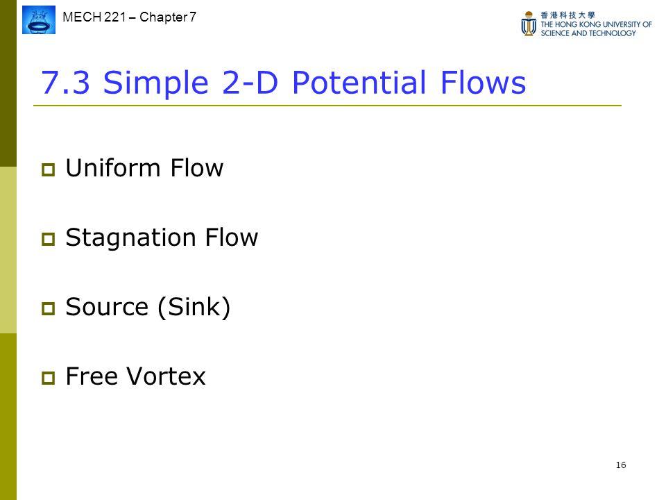 7.3 Simple 2-D Potential Flows