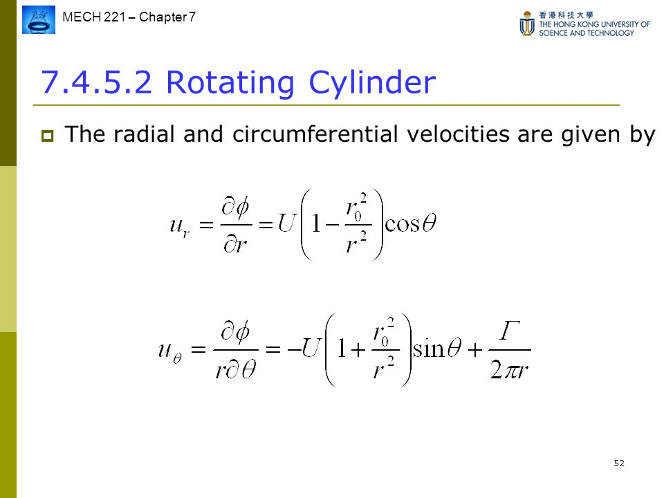 7.4.5.2 Rotating Cylinder The radial and circumferential velocities are given by
