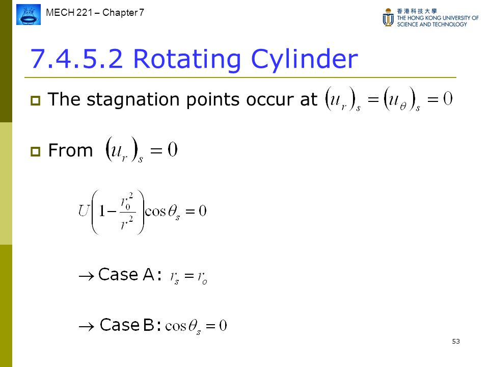 7.4.5.2 Rotating Cylinder The stagnation points occur at From