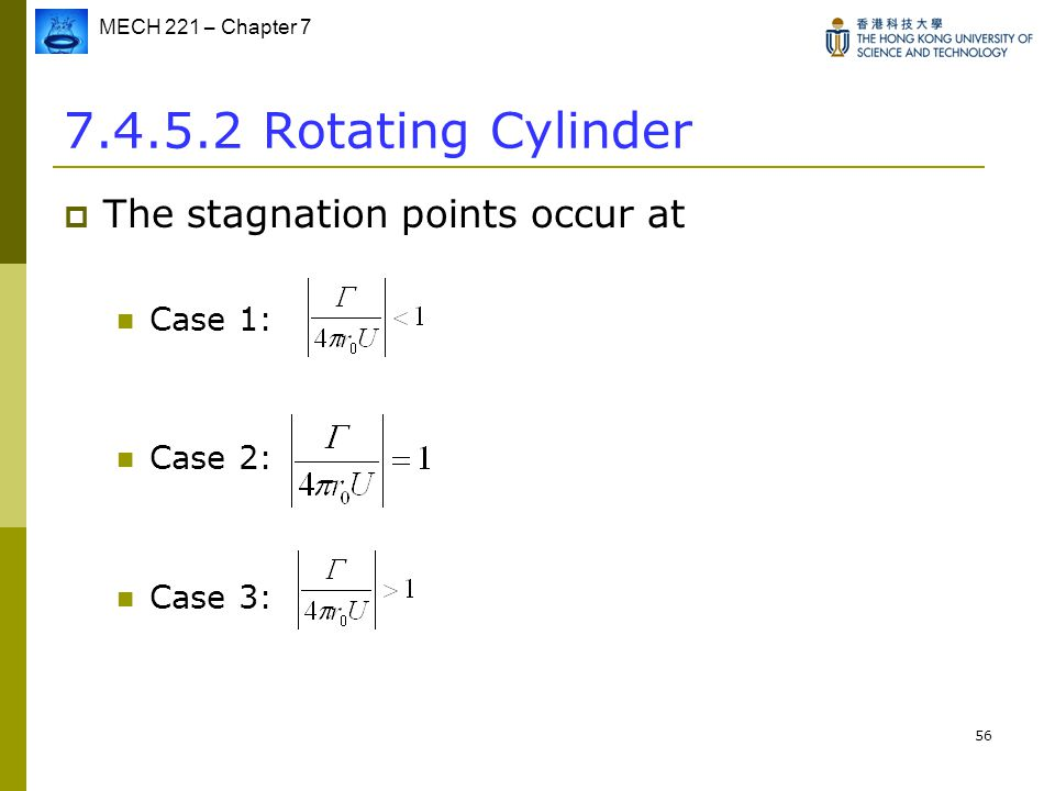 7.4.5.2 Rotating Cylinder The stagnation points occur at Case 1: