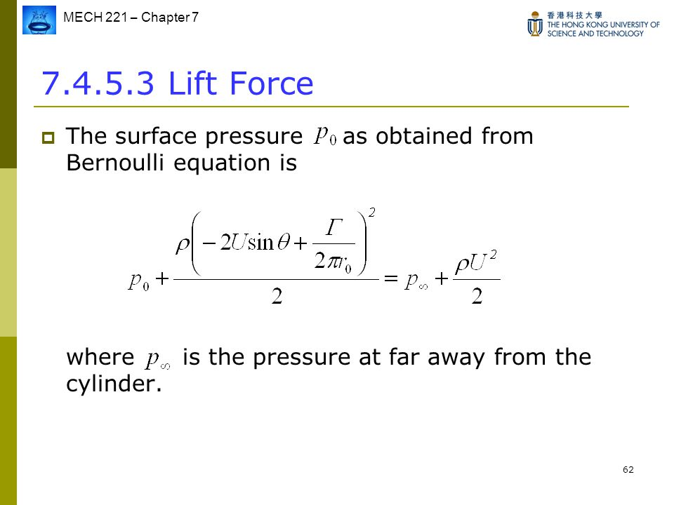 7.4.5.3 Lift Force The surface pressure as obtained from Bernoulli equation is.