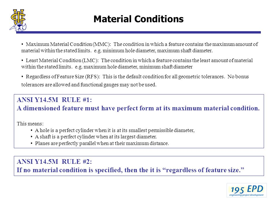 Material Conditions ANSI Y14.5M RULE #1: