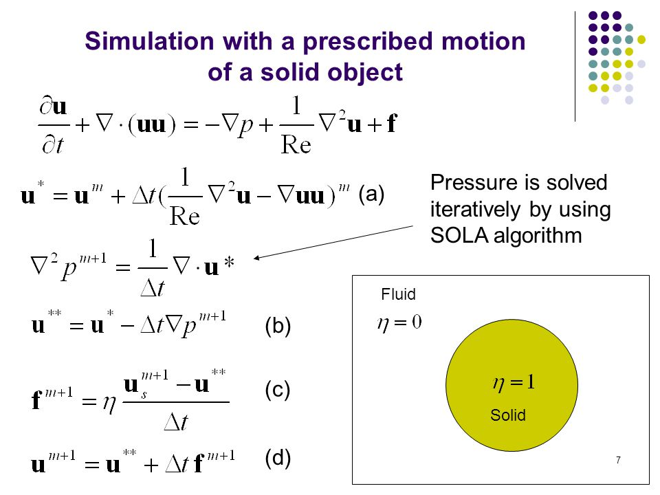 Simulation with a prescribed motion of a solid object