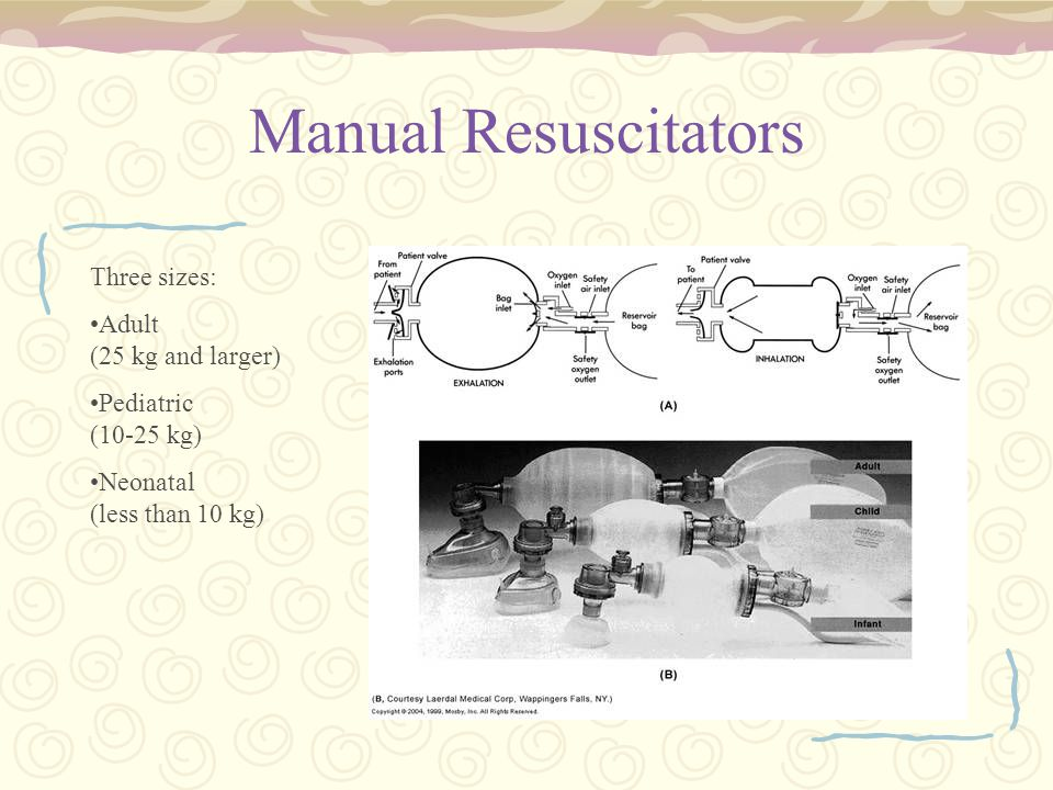 Manual Resuscitators Three sizes: Adult (25 kg and larger)