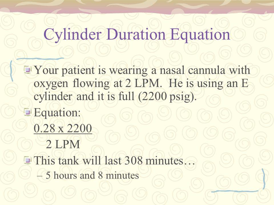 Cylinder Duration Equation