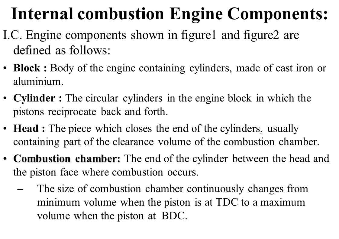 Internal combustion Engine Components:
