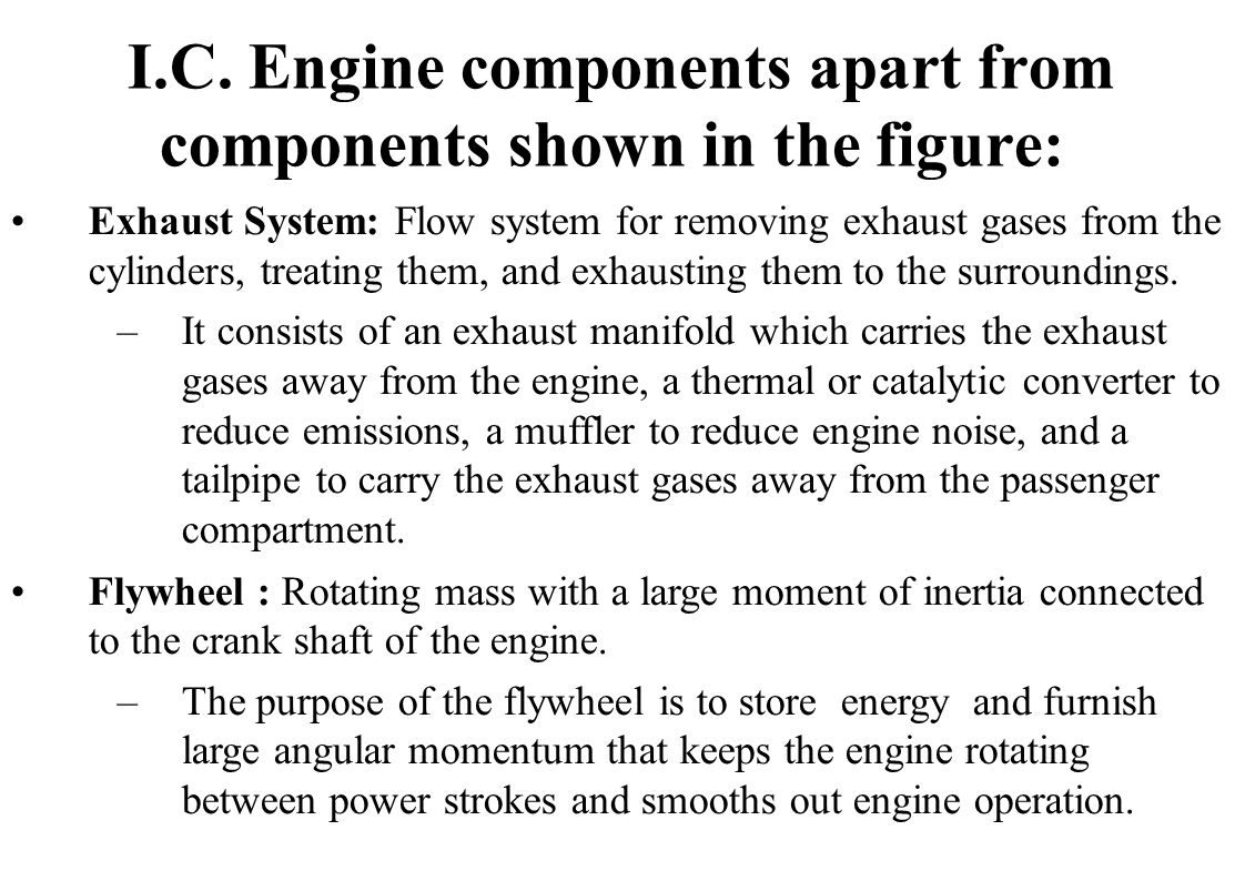 I.C. Engine components apart from components shown in the figure: