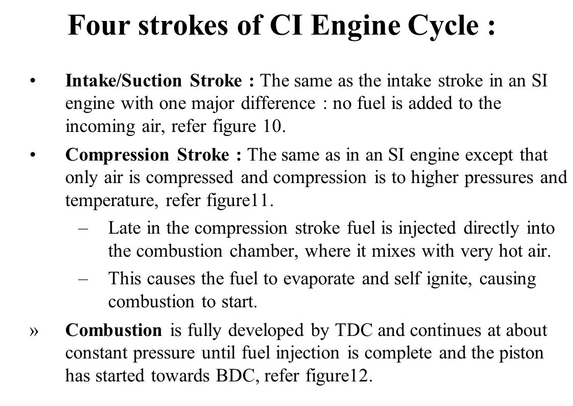 Four strokes of CI Engine Cycle :