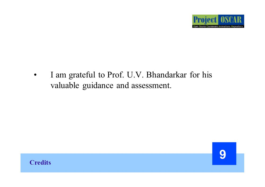 I am grateful to Prof. U.V. Bhandarkar for his valuable guidance and assessment.
