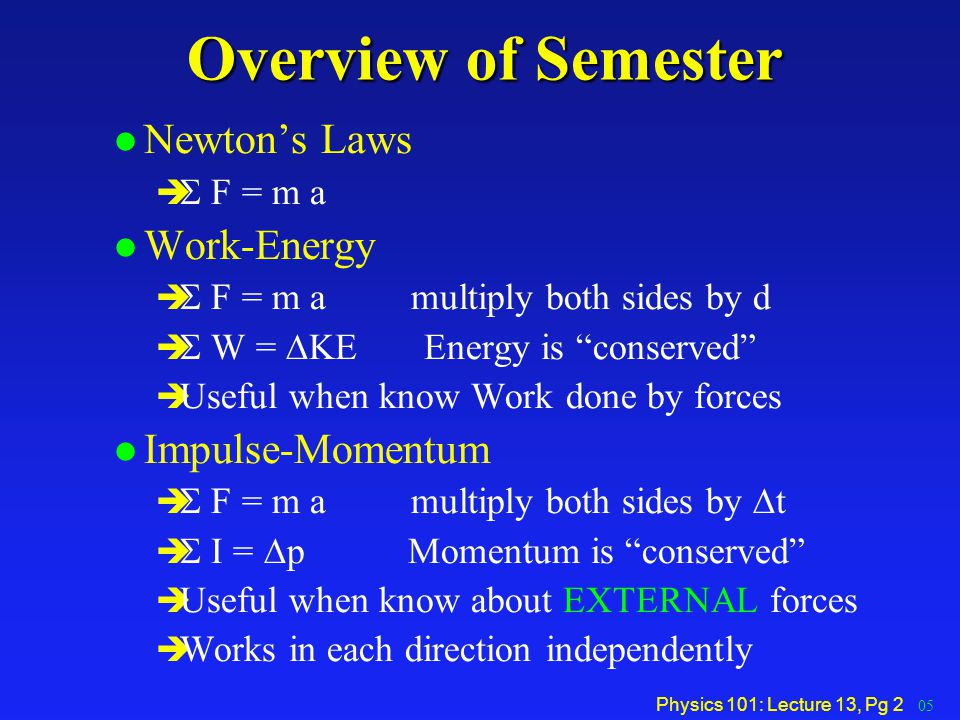 Overview of Semester Newton's Laws Work-Energy Impulse-Momentum