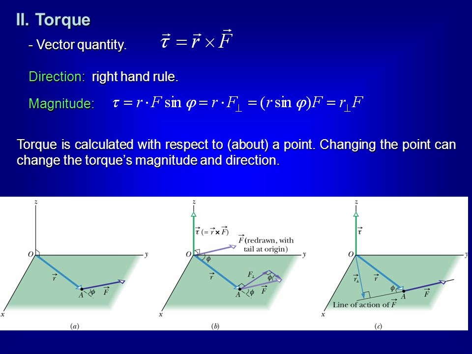 II. Torque - Vector quantity. Direction: right hand rule. Magnitude: