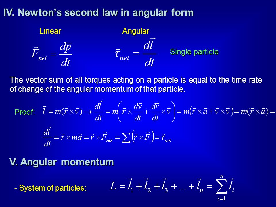 IV. Newton's second law in angular form