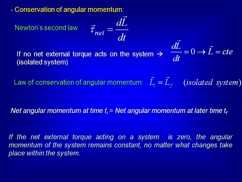 Law of conservation of angular momentum: