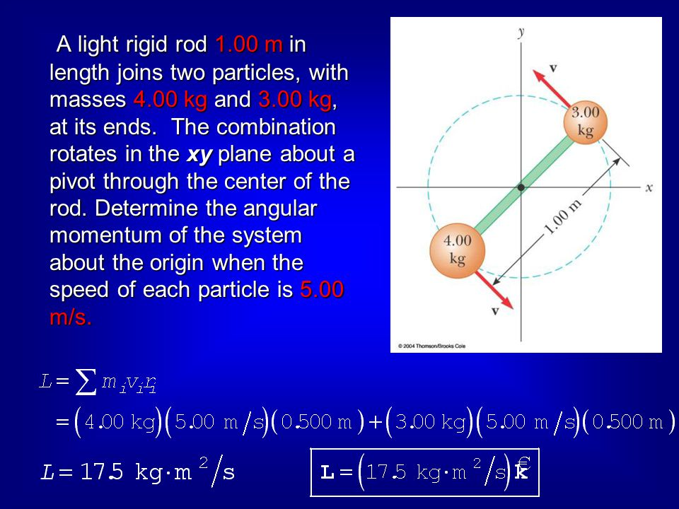 A light rigid rod 1. 00 m in length joins two particles, with masses 4