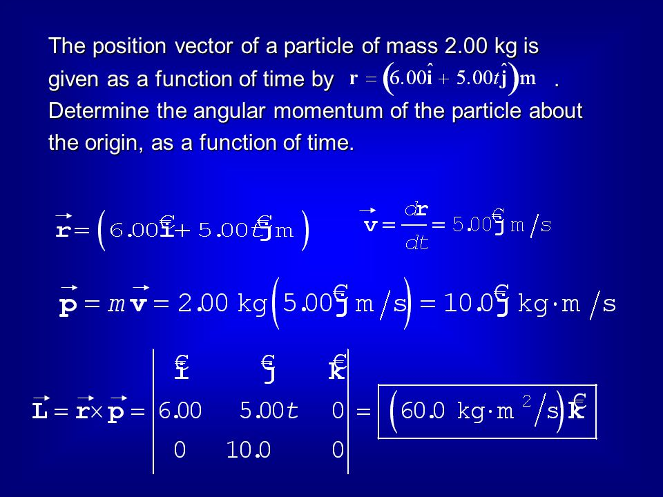 The position vector of a particle of mass 2