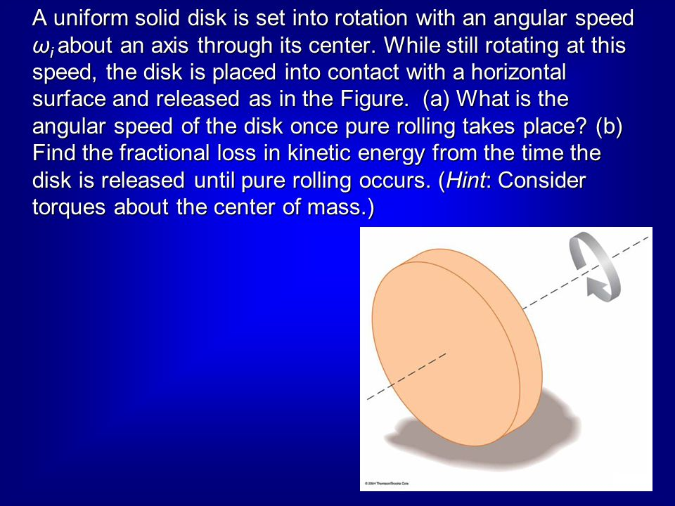 A uniform solid disk is set into rotation with an angular speed ωi about an axis through its center.