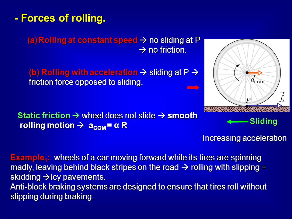 Rolling at constant speed  no sliding at P
