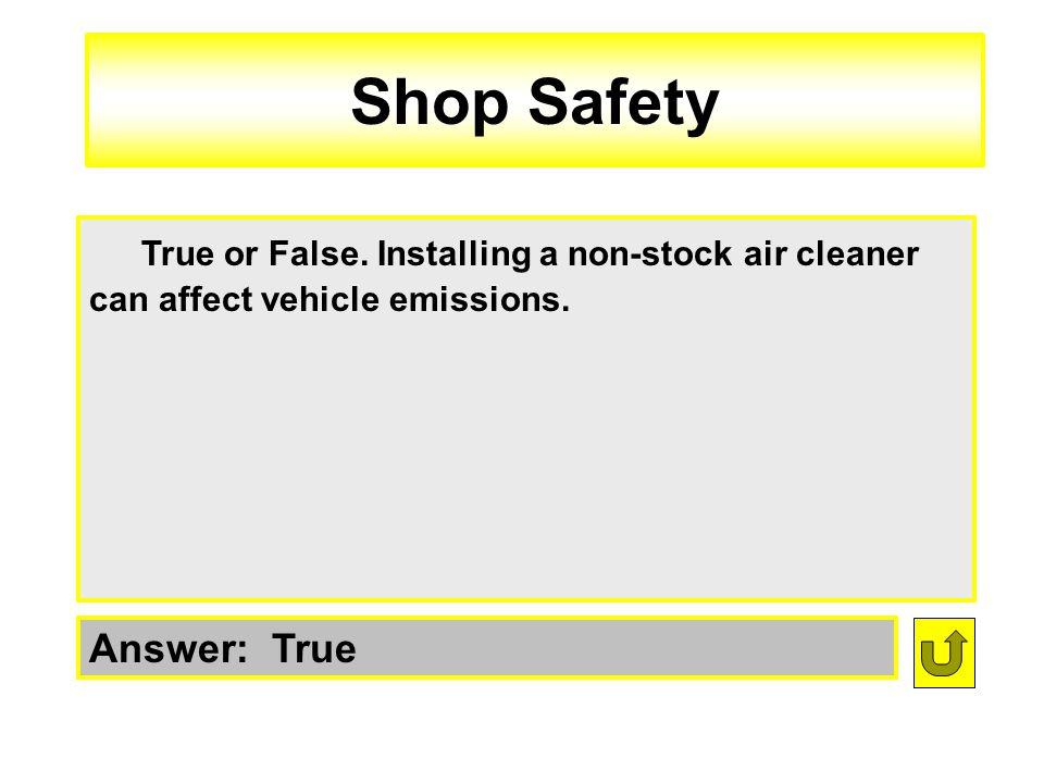 Shop Safety True or False. Installing a non-stock air cleaner can affect vehicle emissions.