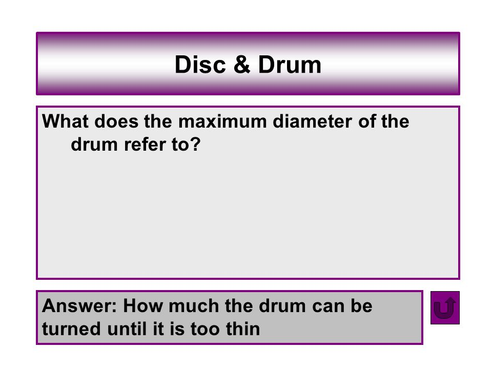 Disc & Drum What does the maximum diameter of the drum refer to