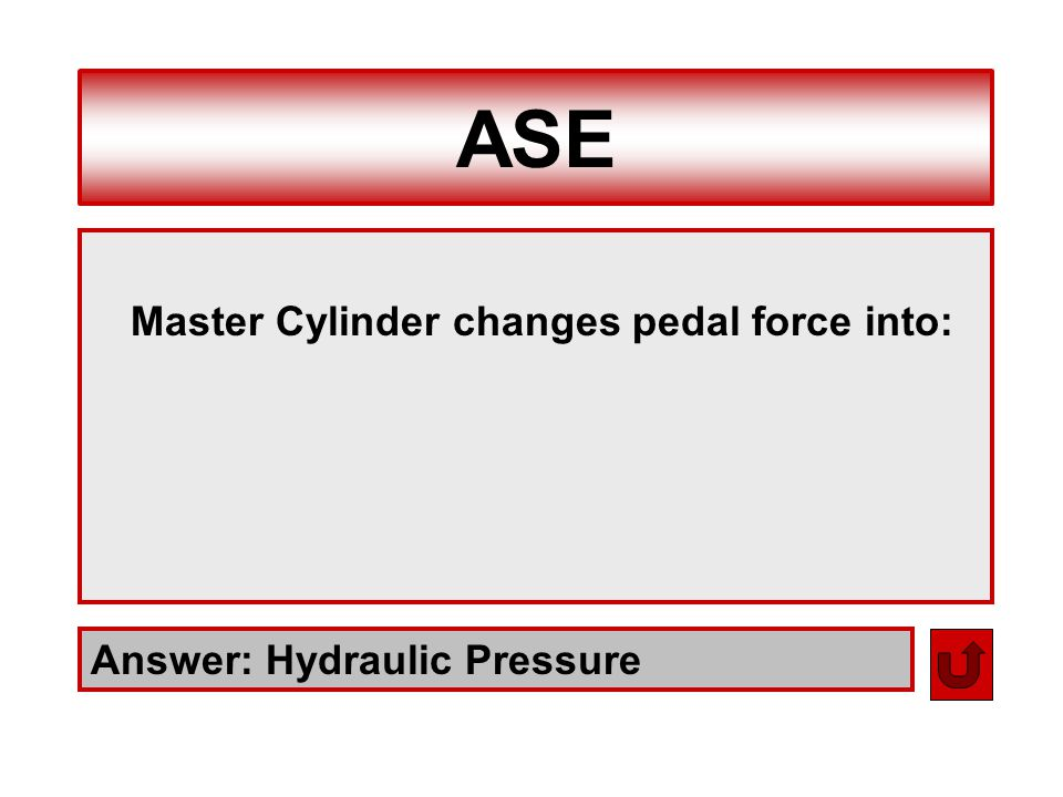 ASE Master Cylinder changes pedal force into: