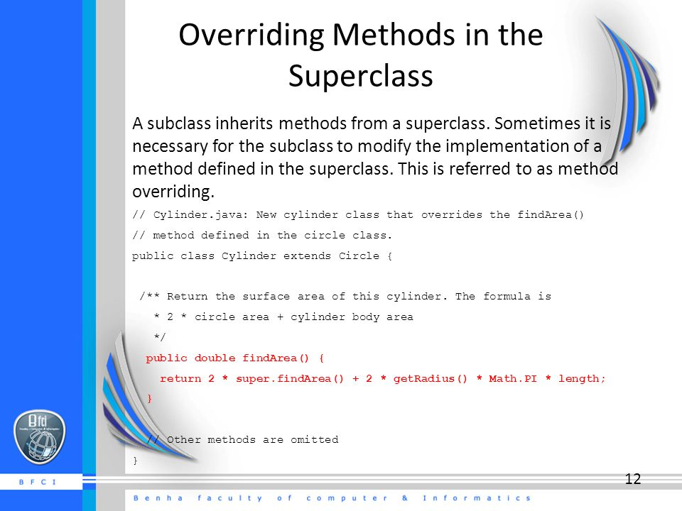 Overriding Methods in the Superclass