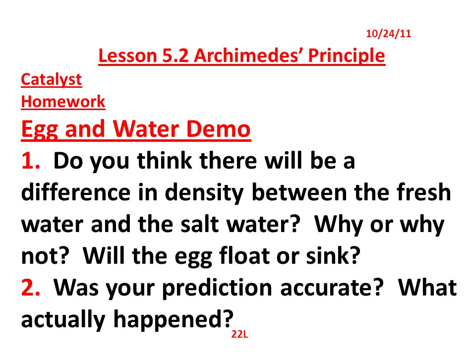 Lesson 5.2 Archimedes' Principle