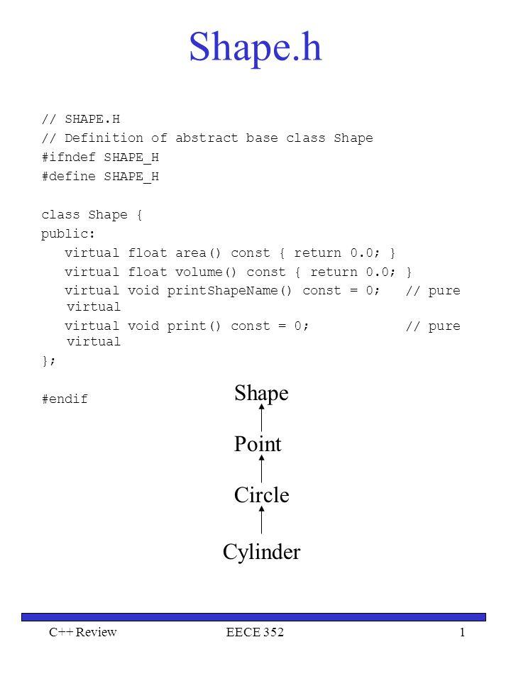 Shape.h Shape Point Circle Cylinder // SHAPE.H