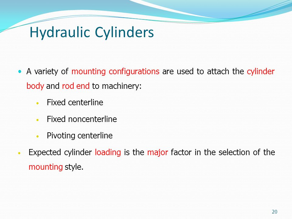 Hydraulic Cylinders A variety of mounting configurations are used to attach the cylinder body and rod end to machinery:
