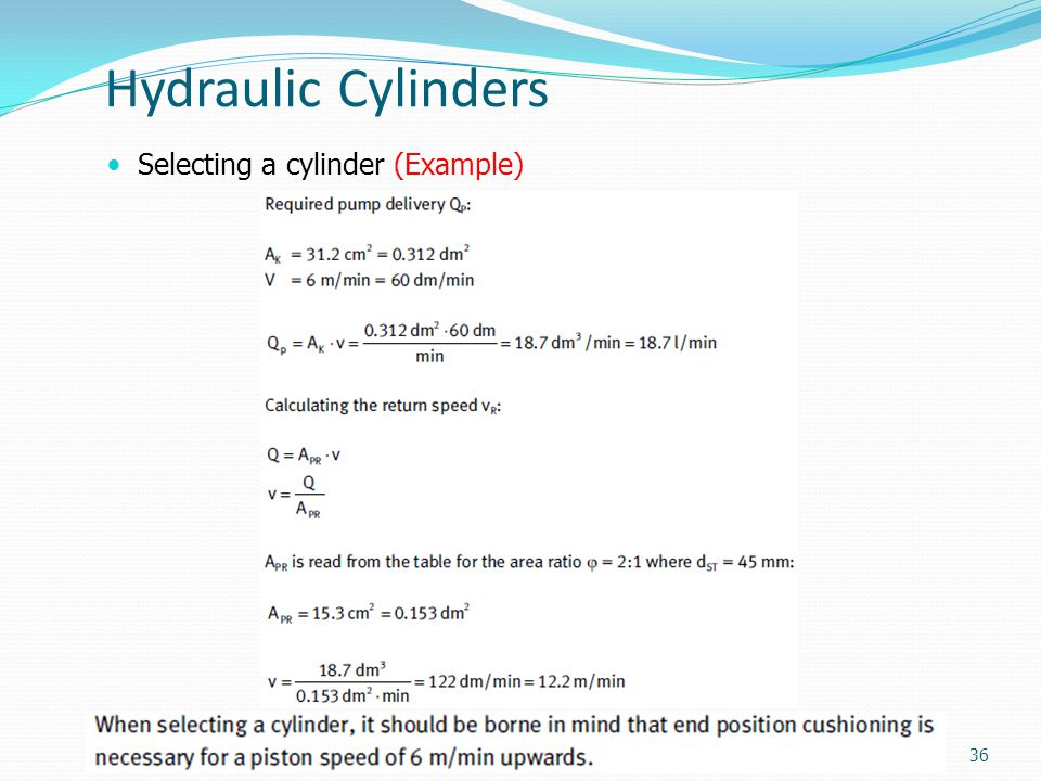 Hydraulic Cylinders Selecting a cylinder (Example)