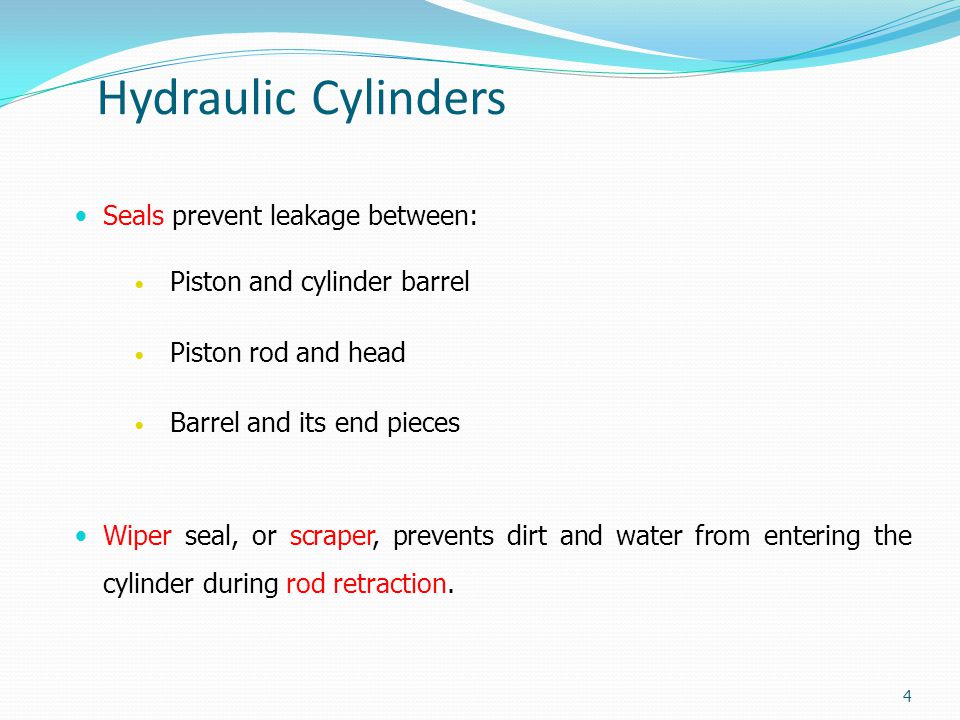 Hydraulic Cylinders Seals prevent leakage between: