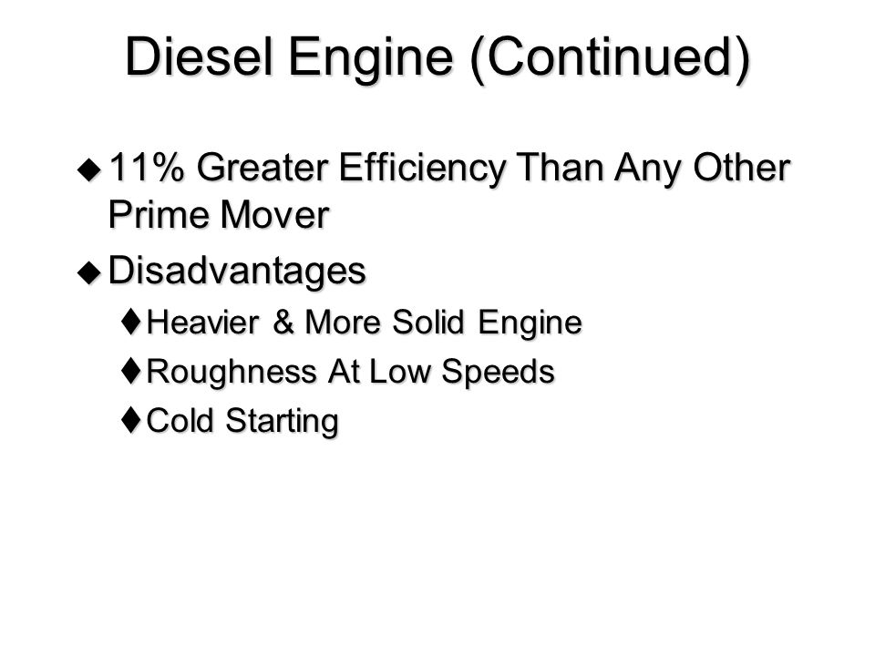 Diesel Engine (Continued)