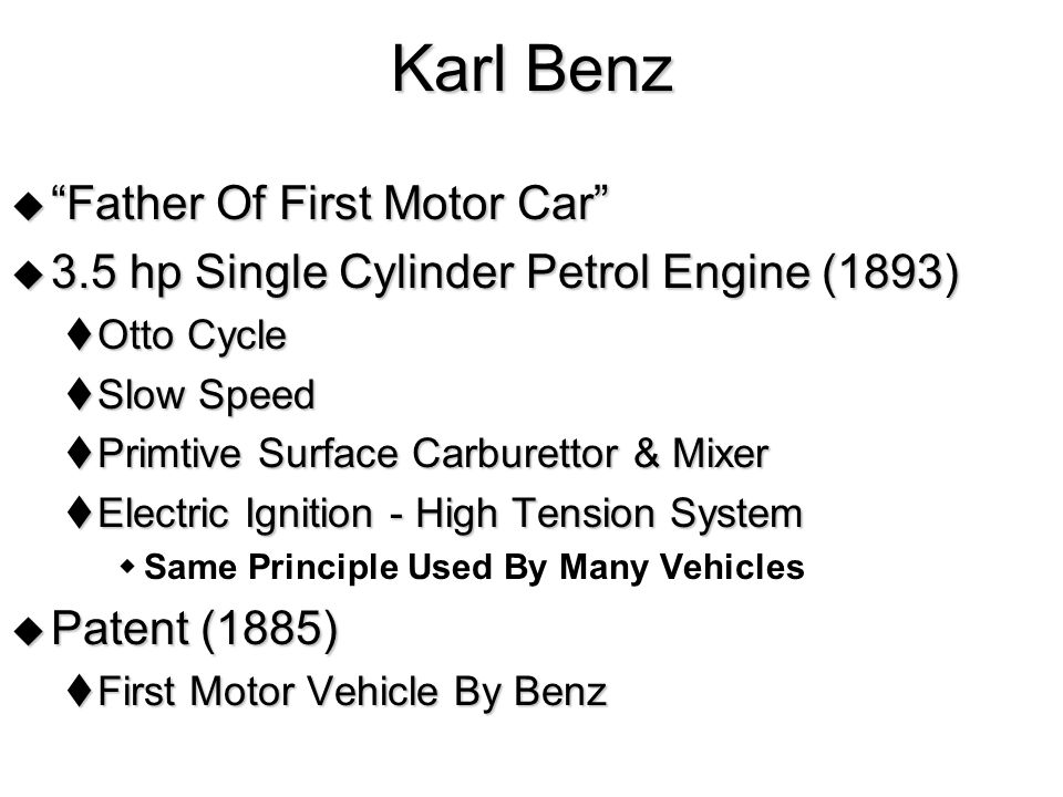 Karl Benz Father Of First Motor Car