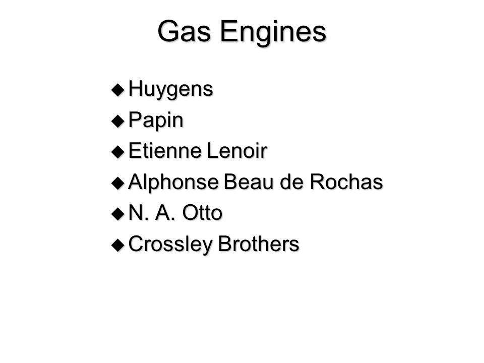 Gas Engines Huygens Papin Etienne Lenoir Alphonse Beau de Rochas