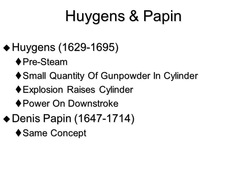 Huygens & Papin Huygens (1629-1695) Denis Papin (1647-1714) Pre-Steam