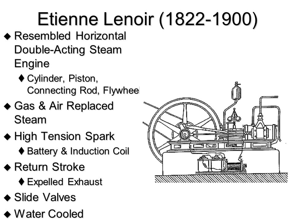 Etienne Lenoir (1822-1900) Resembled Horizontal Double-Acting Steam Engine. Cylinder, Piston, Connecting Rod, Flywheel.