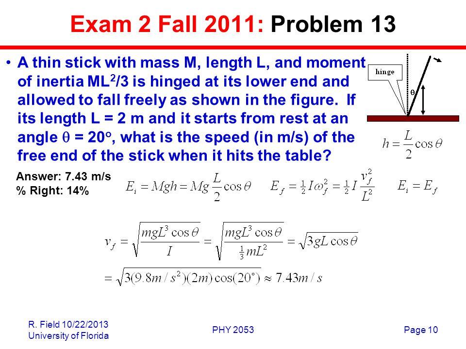 Exam 2 Fall 2011: Problem 13