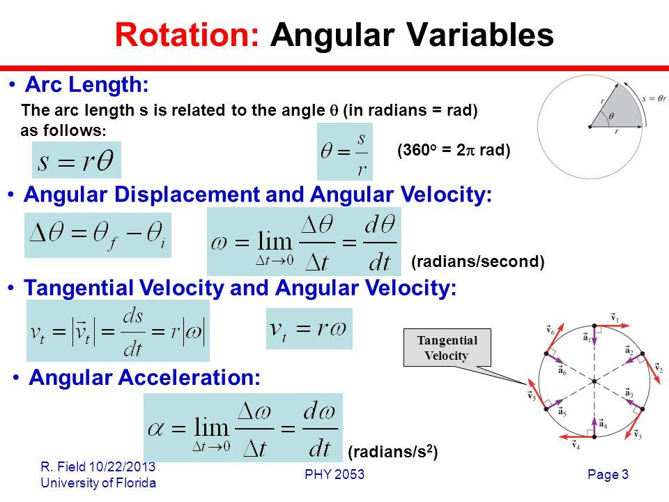 Rotation: Angular Variables
