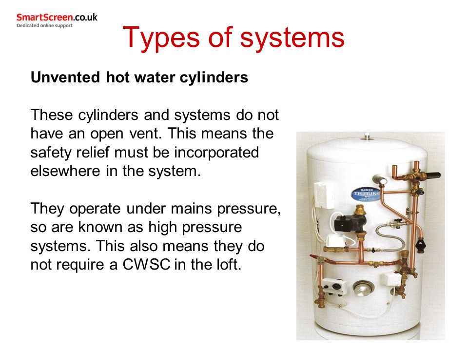 Types of systems Unvented hot water cylinders