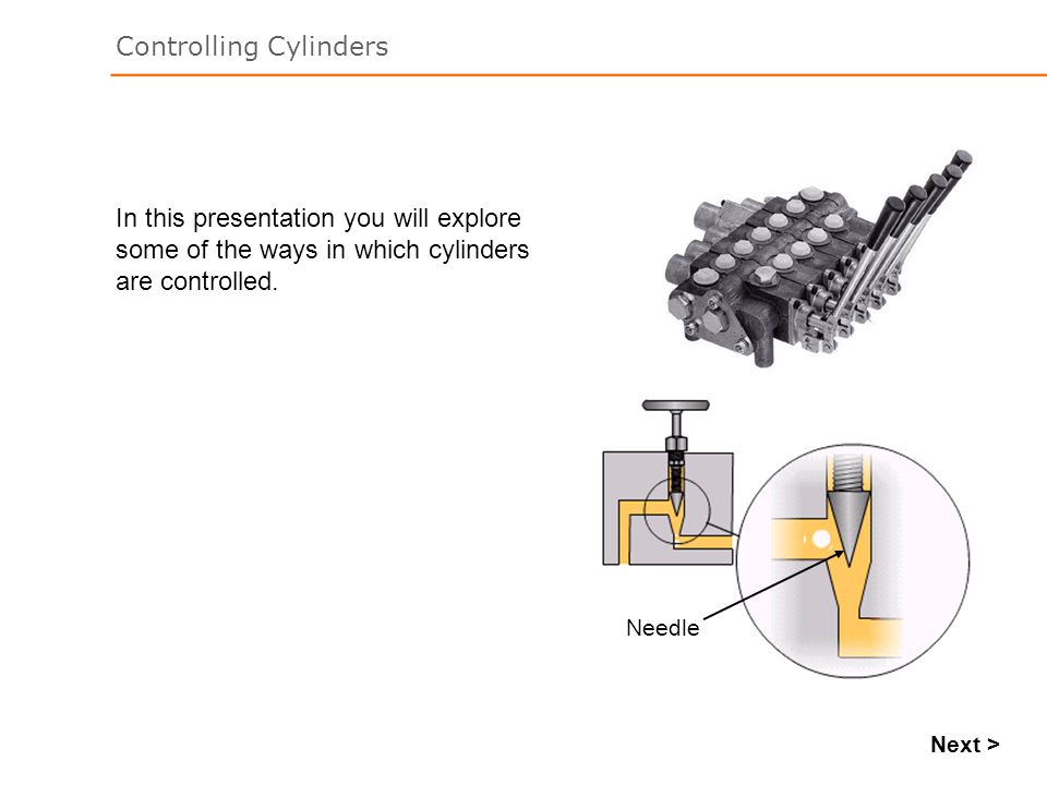 In this presentation you will explore some of the ways in which cylinders are controlled.