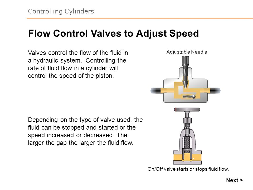 Flow Control Valves to Adjust Speed