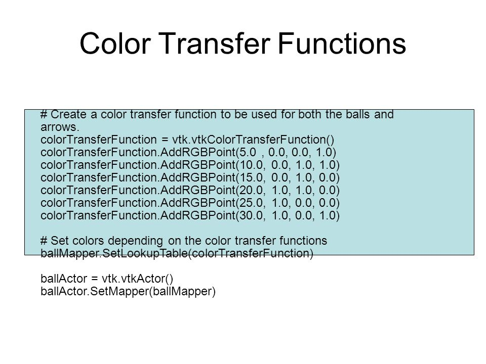 Color Transfer Functions
