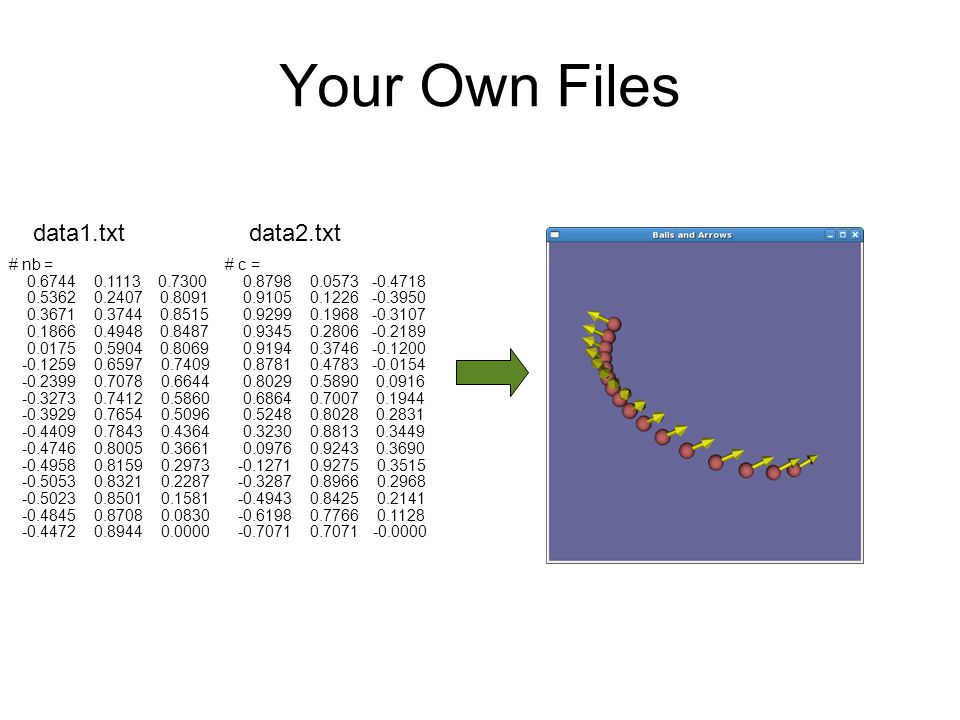Your Own Files data1.txt data2.txt # nb = 0.6744 0.1113 0.7300