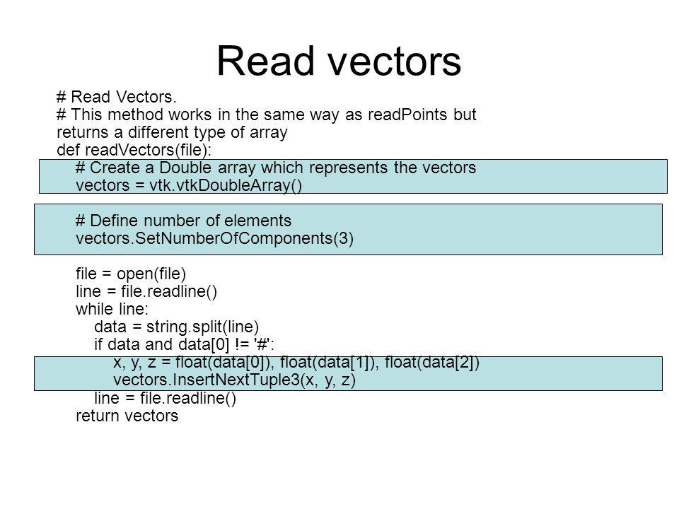 Read vectors # Read Vectors.
