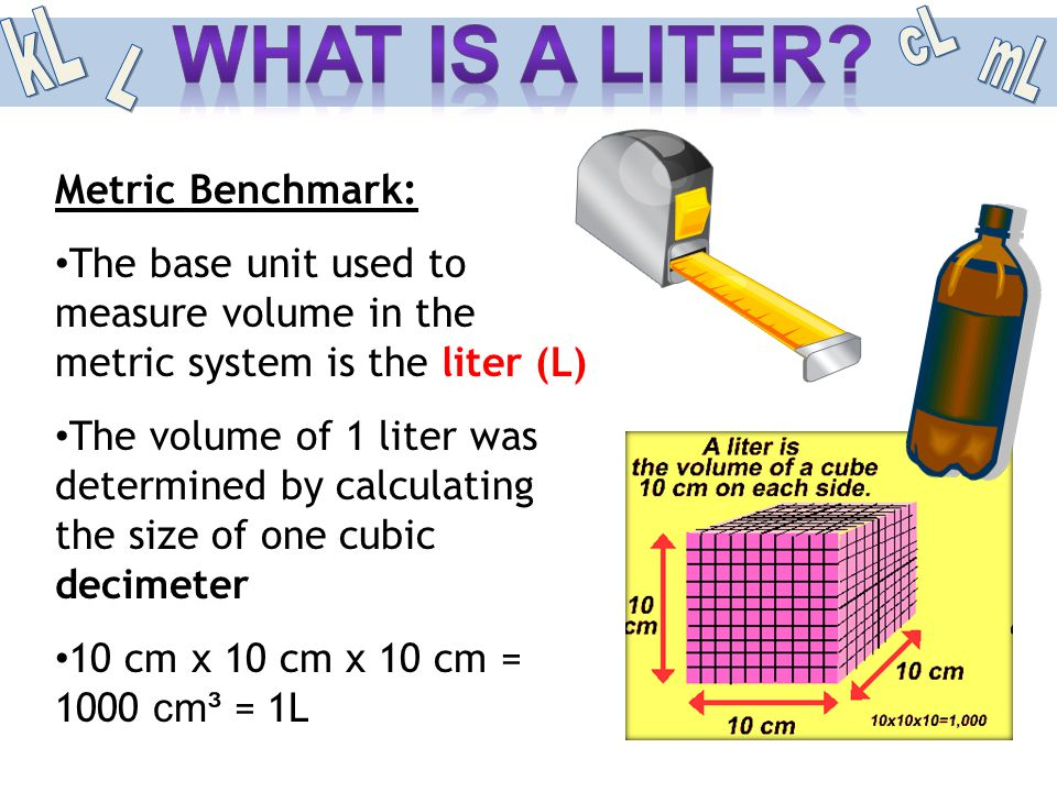 What is a liter mL kL L Metric Benchmark: