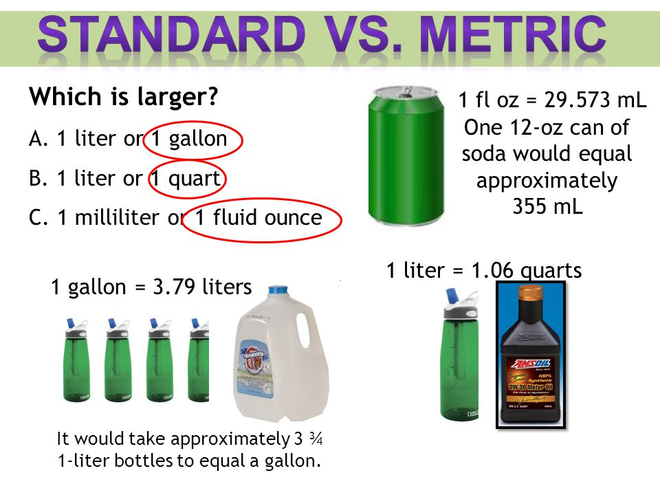 Standard vs. Metric Which is larger 1 fl oz = 29.573 mL