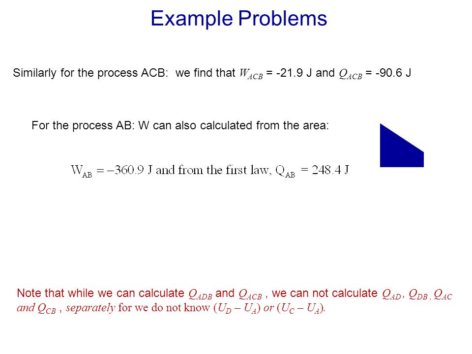 Example Problems Similarly for the process ACB: we find that WACB = -21.9 J and QACB = -90.6 J.