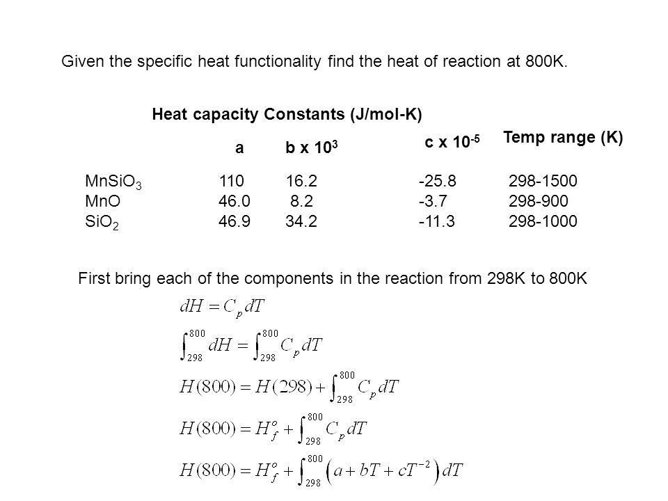 Given the specific heat functionality find the heat of reaction at 800K.