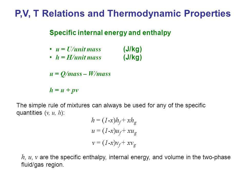 P,V, T Relations and Thermodynamic Properties