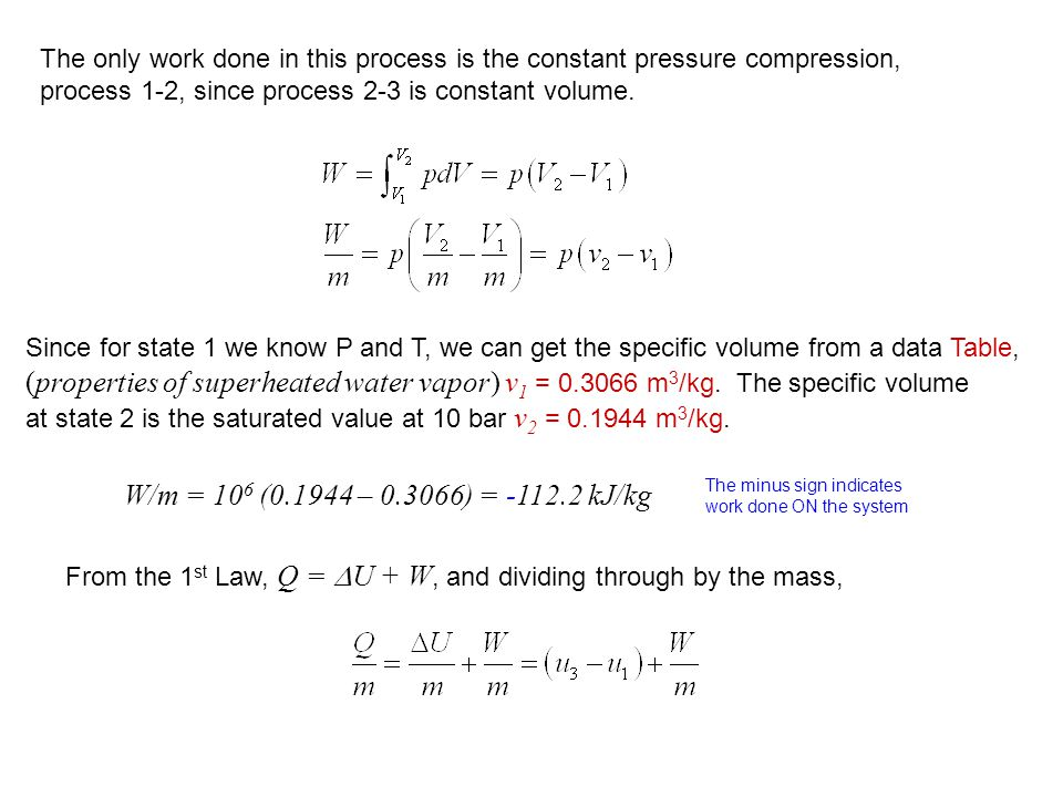 The only work done in this process is the constant pressure compression,